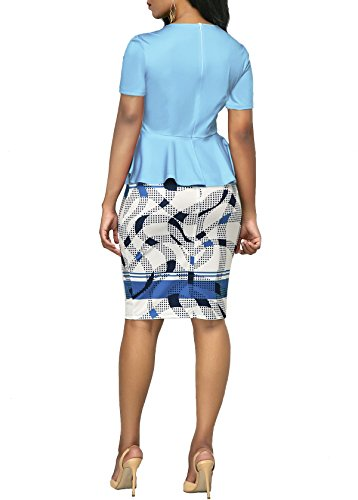 KISSMODA Womens Short Sleeve Work Bodycon Dress One Piece Midi Pencil Peplum Summer Dresses O Neck Light Blue Medium by KISSMODA (Image #5)
