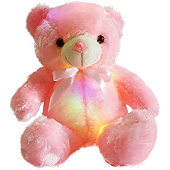 WEWILL Creative Light Up LED Inductive Teddy Bear Stuffed Animals Plush Toy  Colorful Glowing Teddy Bear Nice Gift for Mother s Day e17cfbb551
