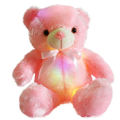 WEWILL Creative Light Up LED Inductive Teddy Bear Stuffed Animals Plush Toy Colorful Glowing Teddy Bear Nice Gift for Birthday Christmas Halloween, 20- Inch(Pink)]()