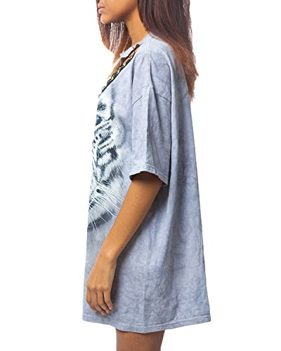 Auxo Femme Sexy Col V Bandages Chemises Mode Tigre Imprimé Shirt Manches Courtes Lâche Tops Image EU 42