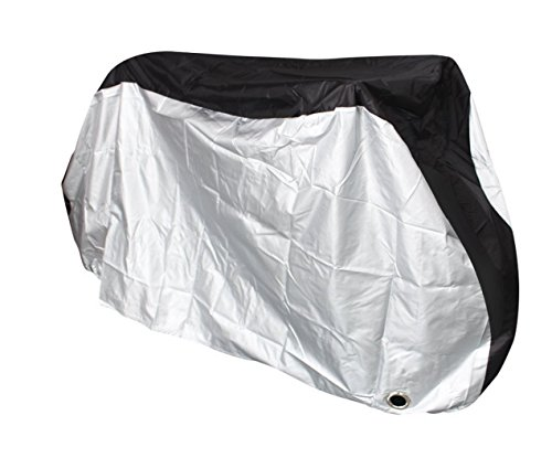 Rhorawill Bike Cover:Top Weatherproof Outdoor Storage Bicycle Cover/Sturdy Waterproof Polyester, Snug Fit Rain, Sun, UV Bike Cover w/ Lock Hole For City, Mountain Or Electric Bikes/ Black & Silver/ XL