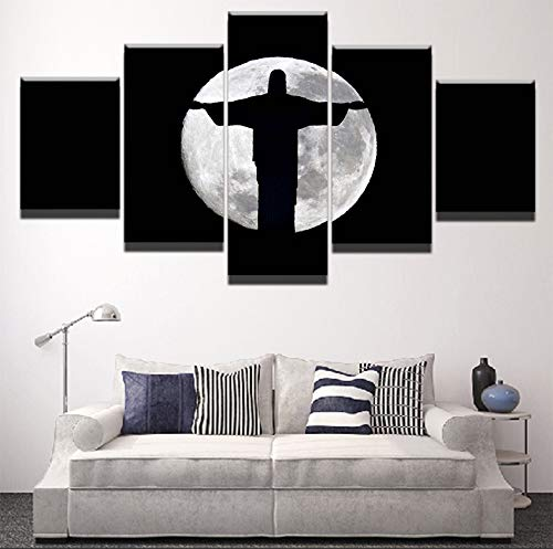 (kkxdpq 5 Pieces Painting Jesus Christ Moon Shadow Modular Wallpaper HD Print On Canvas Wall Art Waterproof Poster Bathroom Living Room Home Decor Picture C,Framed)