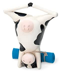 October Hill Decorative Barnyard Hand-Painted Yoga Cow, Headstand