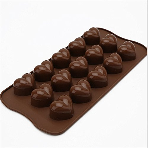 2 Pcs Loving Heart Shape Chocolate Mold 15 Cups Cake Mould Silicone Diy Cooks Evenly ,cools Quickly Great For Christmas, Parties, Wedding, Birthday, Celebrations, Etc. (Mickey Halloween Party 2017 Map)