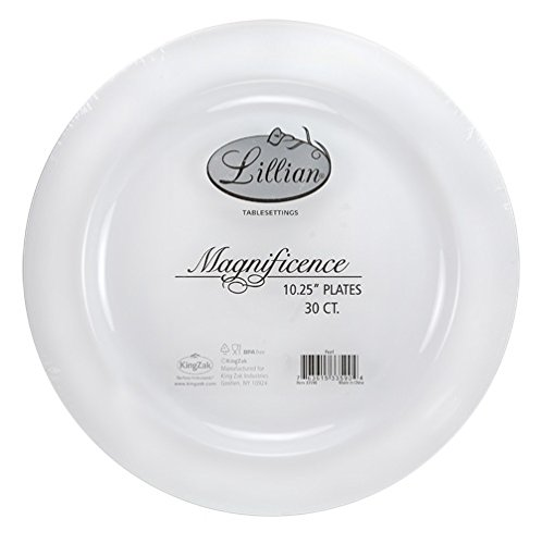 Premium Quality Heavyweight Plastic Plates China Like. Wedding and Party Dinnerware Plastic Plates 10.25 inch, White Pearl  - Value Pack 30 Count ()