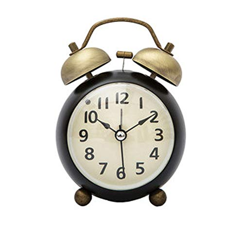 Metal Small Alarm Clock Silent Clock Retro Table Clock(0.25'ft) - Bedroom Creative Pendulum Clock (Color : Black)