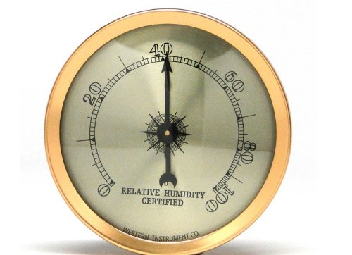 Brass Analog Hygrometer with Glass Face