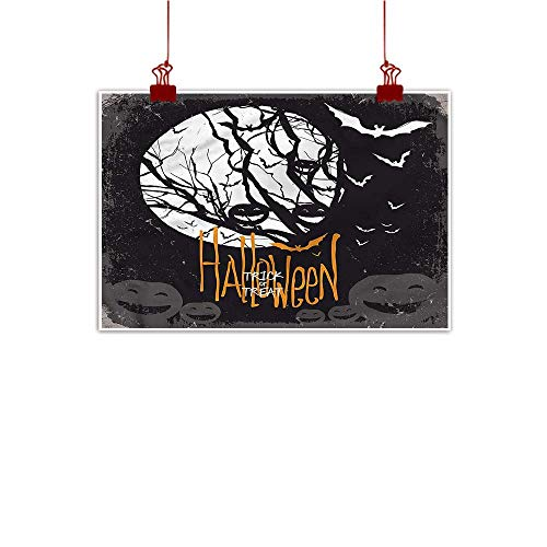 Mangooly Wall Painting Prints Vintage Halloween,Full Moon Trees 32
