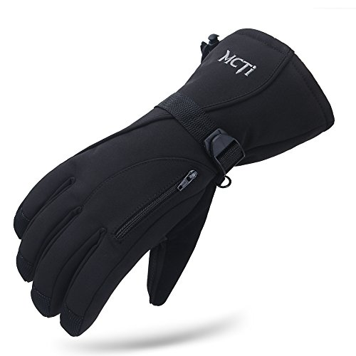(MCTi Waterproof Mens Ski Gloves Winter Warm 3M Thinsulate Snowboard Snowmobile Cold Weather Gloves Black Large)