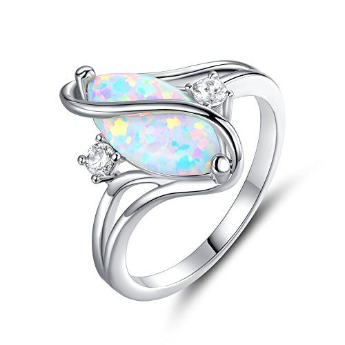 Barzel 18K White Gold Plated Created Opal & Cubic Zirconia Accent S Ring - (7) ()