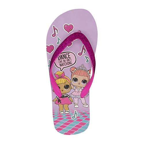 L.O.L. Surprise! Girls Flip Flops with Glitter Upper - Lilac Size 13/1