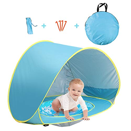 Felicigeely Baby Beach Tent with Pool Pop Up Shade Canopy with UV Protection - Sun Shelter for Infant ... (Blue)