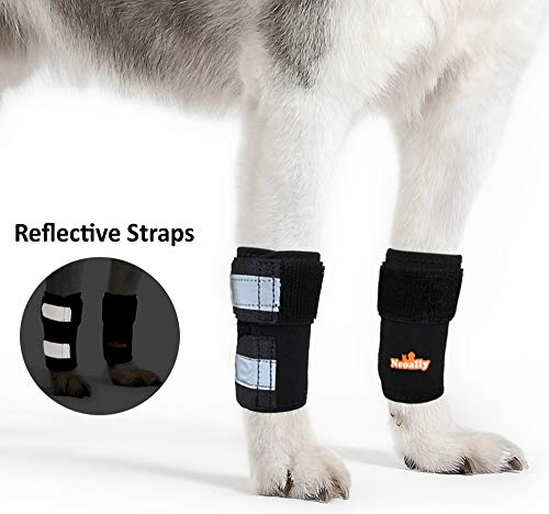 PAIR of Front Leg Braces for Dog & Cat Canine Carpal Support with Safety Reflective Straps for Injury Prevention, Joint Pain and Loss of Stability from Arthritis - 3 Colors (Black XXS/XS Pair)