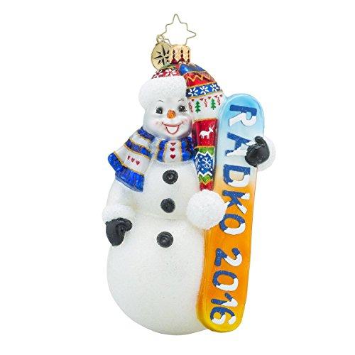 Christopher Radko 2016 Snow Extreme Snowman Glass Christmas Ornament - 5.5