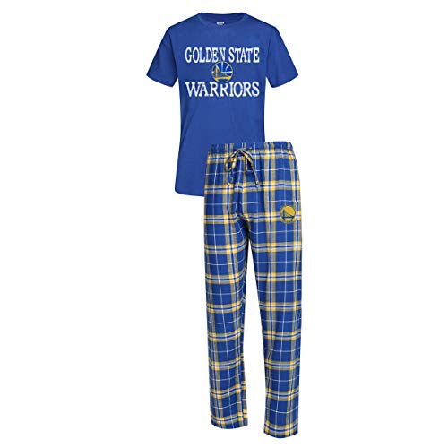 Concepts Sport Men's NBA Duo Flannel Pajamas and T-Shirt Sleep Set-Golden State Warriors-XL -