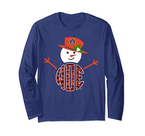 Auburn Tigers Patterned Team Name Snowman T-Shirt