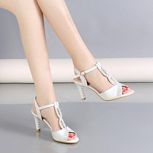 Verano Hebillas Talones De Pequeño Dedos Delgados De Taladro Fresco Sandalias Pies Tacones white De Altos Los Zapatos Los KPHY Tacones Mujer Agua wPvZX6qwnT