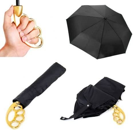 Gold Witty Novelty Knuckle Umbrella 39.3 Inch Dia
