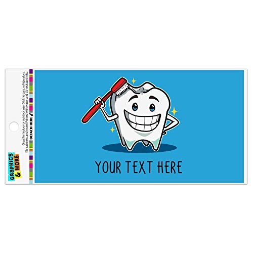 Graphics and More Personalized Custom 1 Line Happy Tooth Dentist Automotive Car Refrigerator Locker Vinyl Magnet