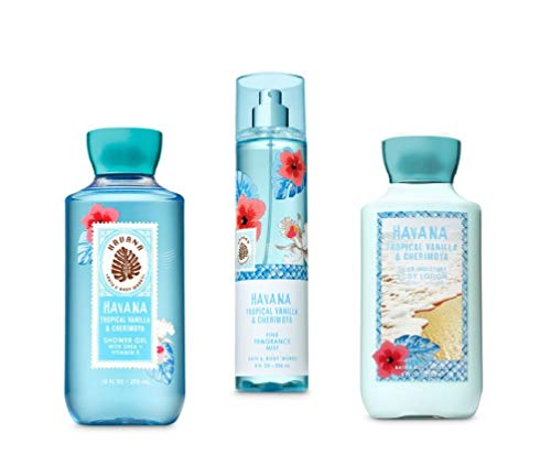 Bath and Body Works - HAVANA - Tropical Vanilla & Cherimoya - The Daily Trio Gift Set Full Size - Shower Gel, Fine Fragrance Mist and Body Lotion - 2019