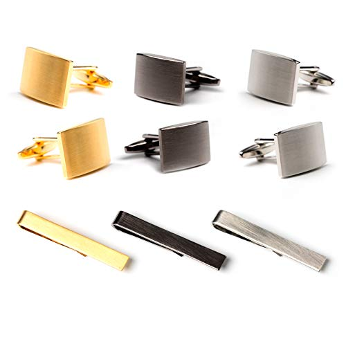 - JS SEWELL Mens Tie Clip and Cufflinks Set - Black, Gold, Silver