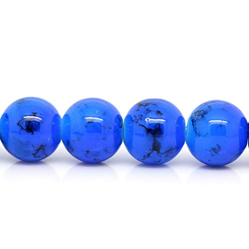 12mm Royal Blue with Black Swirl Marble Glass Beads 30 Beads BGL0014 Jewelry Making Supplies Set Crafts DIY Kit