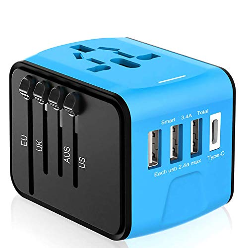 Universal Travel Adapter, Whlzd All in One International Power Adapter with Smart High Speed 3 USB & 1 Type C Ports, European Adapter Wall Charger UK, EU, AU, Asia Covers 220+Countries (Blue)
