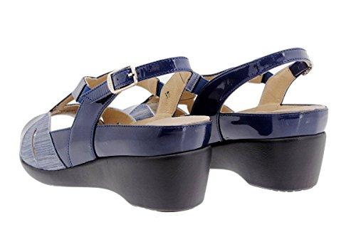 Calzado mujer confort de piel Piesanto 1155 Sandalia Plantilla Extraíble cómodo ancho Marino