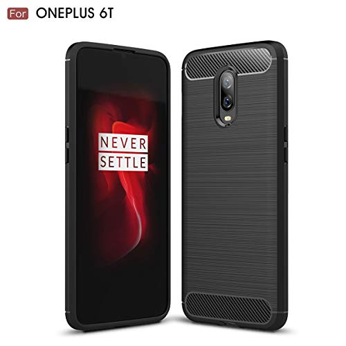 DEGOL OnePlus 6T Case with in-Built Flexible Protection Frame, Lightweight Soft TPU Bumper, Elastic and Shock-Absorbing Gel, Carbon Fiber Design, for OnePlus 6T – Black