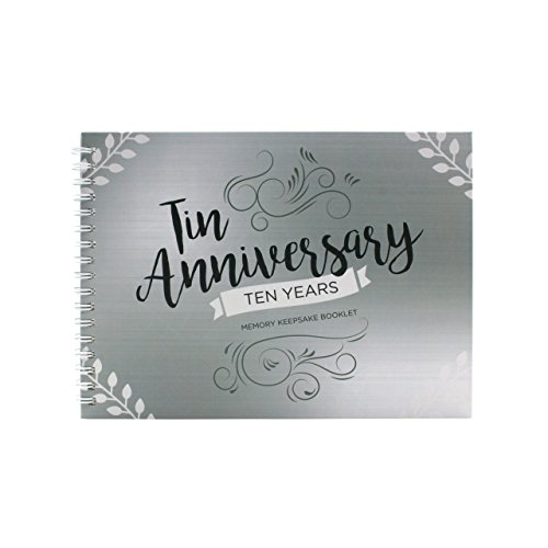 Unique 10th Wedding Anniversary Memory Book with Stickers and A Matching Card - 5-Second Memory Journal For Your Special Tin Anniversary - The Perfect Keepsake Booklet for Special Memories (Gift Tin Anniversary)