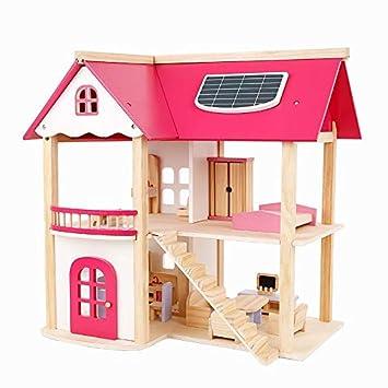 53f718b8c84e5 pink doll house  Amazon.ae  WOODENEDUCATIONALTOYS