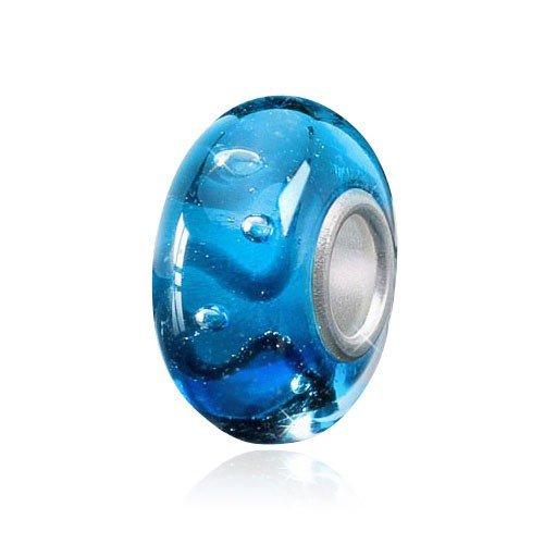 Materia 'Wogen' Pendentif bleu avec perles en verre de Murano–Perles européennes en argent 925 pour bracelet # 1066