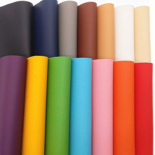 ZAIONE Solid Litchi Faux Leather Sheets 14pcs/Set 8 x 12 (20cm x 30cm) A4 Sheets PU Vinyl Synthetic Leather Fabric for Shoes Bag Bow Material DIY Craft (14 Colors)