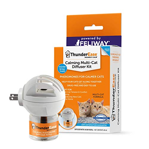 ThunderEase Multicat Calming Pheromone Diffuser Kit - Reduce Cat Conflict, Tension and Fighting (30 Day Supply) from ThunderEase