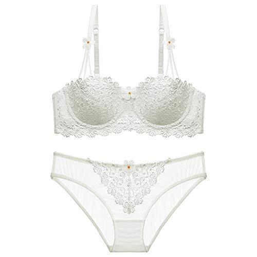 Girl Lace Lingerie Half Cup Bra Gathered Bra Sexy Bra Set(White 34C)