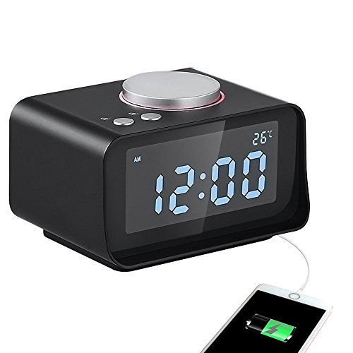 USB Alarm Clock, Digital Alarm Clock Radio - AKASO - Charging Alarm Clock, Snooze Function, 5 Dimmer, Indoor Thermometer, Phone Charger with Dual Port USB, Black (5 Function Digital Clock)