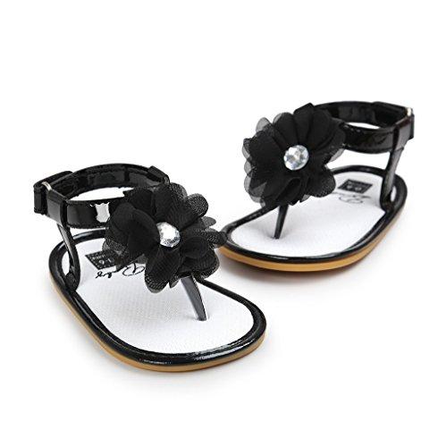 Sandalias de bebé,Auxma Zapatos de las sandalias de la flor de los bebés Primeros zapatos para caminar Negro
