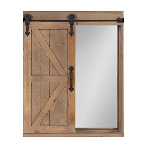- Kate and Laurel Cates Wood Wall Storage Cabinet with Vanity Mirror and Sliding Barn Door, Rustic Brown
