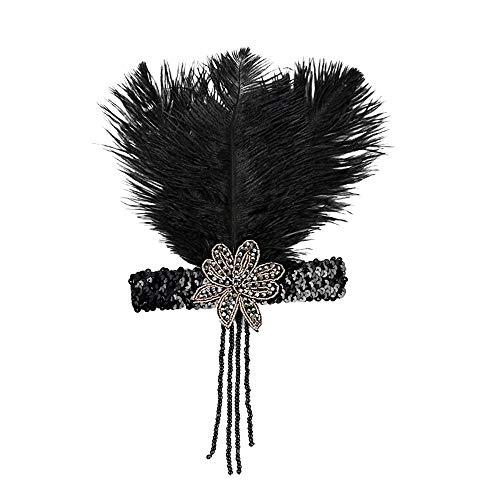 Euone  Headband, 1920s Headpiece Feather Flapper Headband Great Gatsby Headdress Vintage]()