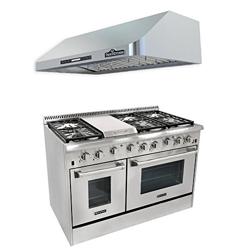 Thor Kitchen 48'' 6 Burner Gas Range with Double Oven+48'' Gange Hood (Gas Range With Grill compare prices)