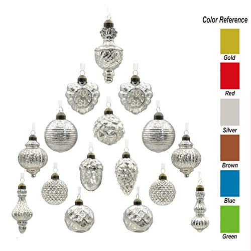 youseexmas Antique Mercury Glass Christmas Ornaments Pack of 16 (Silver) ()