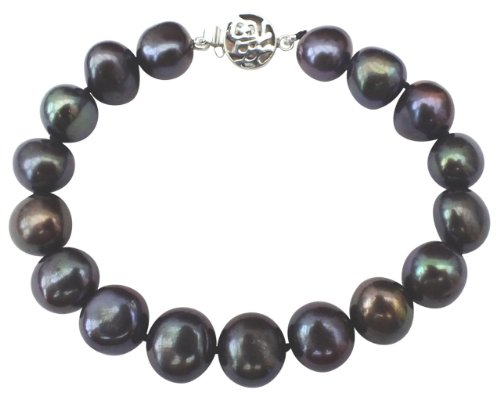 Classic Peacock/Black 9-10mm Baroque Cultured Pearl Bracelet With A Sterling Silver ()