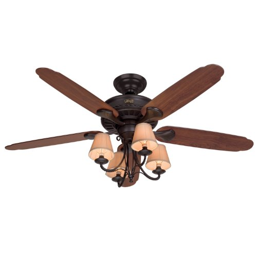 Hunter 22710 Cortland 54-Inch Ceiling Fan with Optional Light and 5 Dark-Cherry/Walnut-Oak Blades, New Bronze - Oak View Cherry