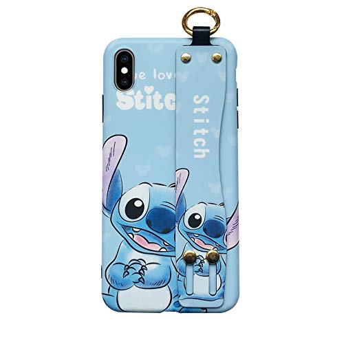(Soft TPU Blue Stitch Case with Stand Hand Holder Loop for iPhone Xs Max 6.5 Lilo Walt Disney Cartoon Disneyland Cute Lovely Protective Kawaii Gift Kids Teens Girls Boys Son)