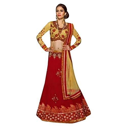 Red Wedding Festive Georgette Lehenga Choli Ghagra Designer Dupatta Indian Muslim Navratri 7195