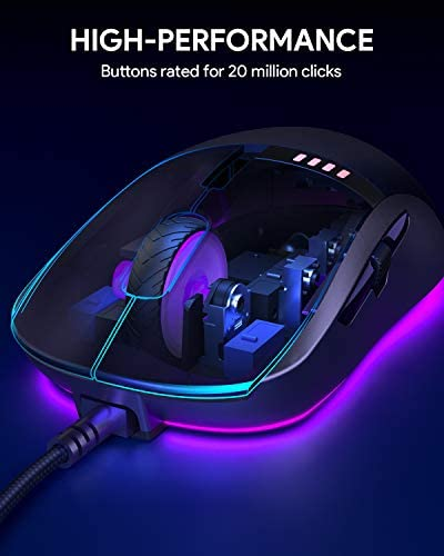 AUKEY Knight Gaming Mouse, RGB Wired Gaming Mouse with 10000 DPI, 8 Programmable Buttons, RGB Lighting Effects, Macros, Fire Button Gaming Mice for PC and Mac 41MjGEgQAZL