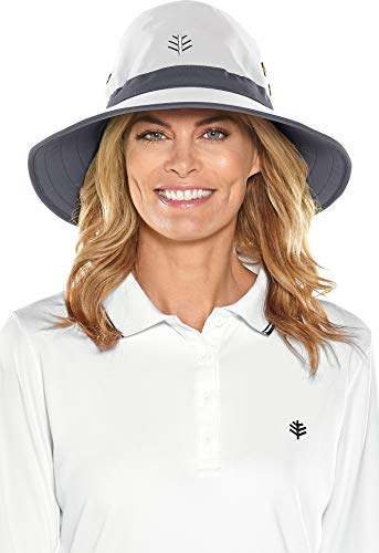 Coolibar UPF 50+ Men's Women's Matchplay Golf Hat - Sun Protective (Large/X-Large- White/Carbon)]()