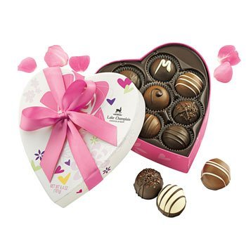 Lake Champlain Chocolates Traditional Valentine Assorted Truffles Heart Gift Box, 8 Pieces, 6.4 Ounces made in Vermont