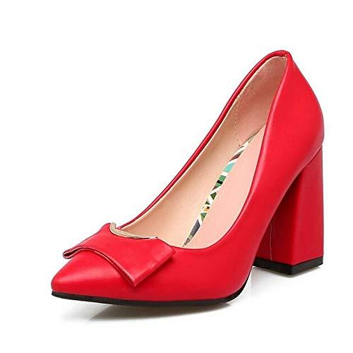 Negro PU Plata Rojo Chunky Confort Rojo Rojo Plata Primavera De QOIQNLSN Zapatos 4be7f2