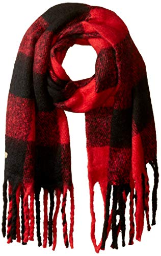 Betsey Johnson Women's Checked Out Blanket Wrap, red, ONE SIZE